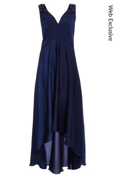 Navy Satin Embellished Dip Hem Dress